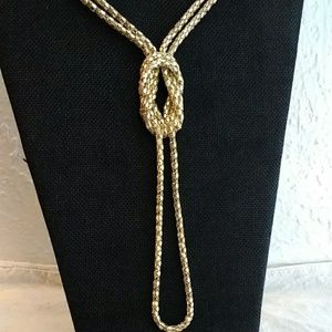 Jewelry - Gold tone double strand knotted necklace